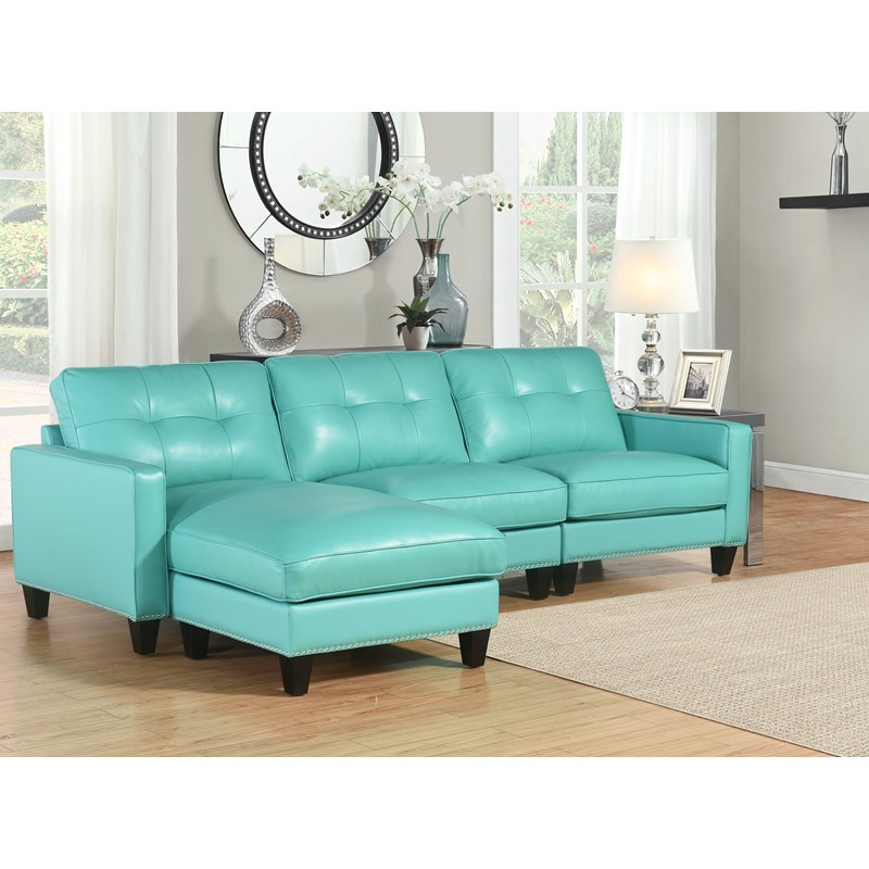 Carmelo Top Grain Leather Reversible Sectional Turquoise